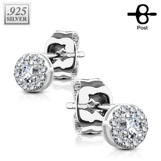 Pair of .925 Sterling Sliver Paved 5mm CZ Post Earring Studs