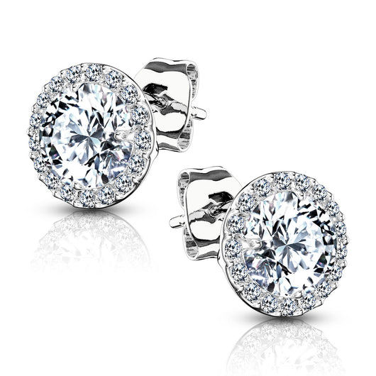 Pair of .925 Sterling Silver Paved Round CZ Post Earring Studs
