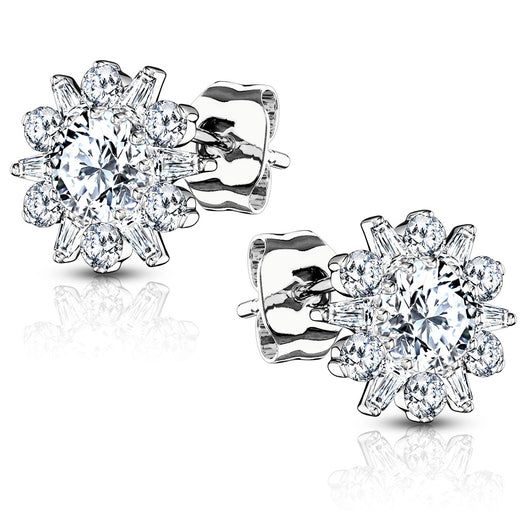 Pair of .925 Sterling Silver Double Tiered Flower CZ Post Earring Studs