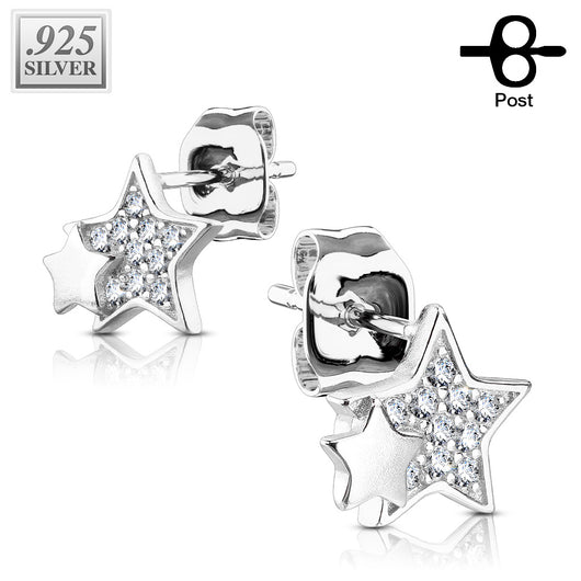 Pair of .925 Sterling Sliver Paved Double Star CZ Post Earring Studs