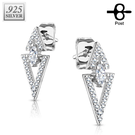 Pair of .925 Sterling Sliver Paved Triangle CZ Post Earring Studs
