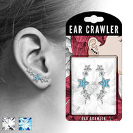 Pair of CZ Paved Stars Ear Crawler Ear Climber Earrings