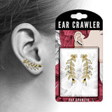 Pair of Marquise Cut CZ Leaf Ear Crawler Ear Climber Earrings
