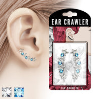 Pair of Round CZ and Hollow Stars Ear Crawler Ear Climber Earrings
