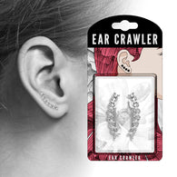 Pair of Crystals set Twisted Lines Ear Crawler Ear Climber Earrings