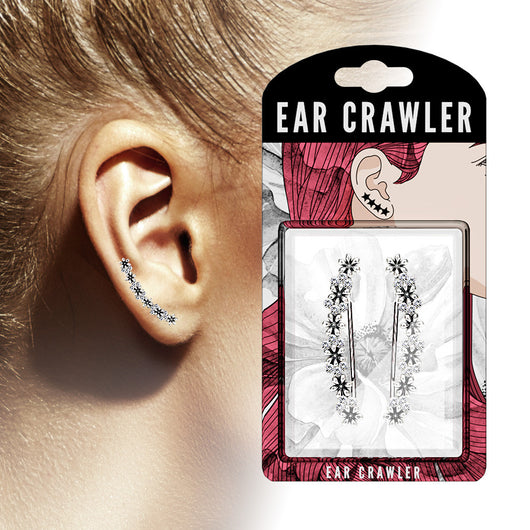 Pair of Crystals Set Antique Flowers Ear Crawler Ear Climber Earrings