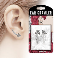 Pair of CZ Butterfly and Bubbles Ear Crawler Ear Climber Earrings