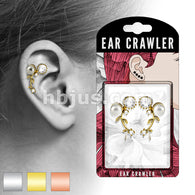 Pair of CZ and Pearl Set Vines Ear Crawler Ear Climber Earrings