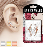 Pair of Paved CZ and Pearl Feather Ear Crawler Ear Climber Earrings