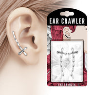 Pair of Princess Cut CZ Cross Ear Crawler Ear Climber Earrings