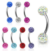 Multi CZ Ferido Balls 316L Surgical Steel Curve Barbell Eyebrow Rings