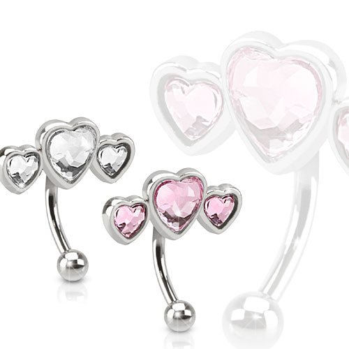 Triple Heart Paved Heart Shaped CZ 316L Surgical Steel Eyebrow Ring