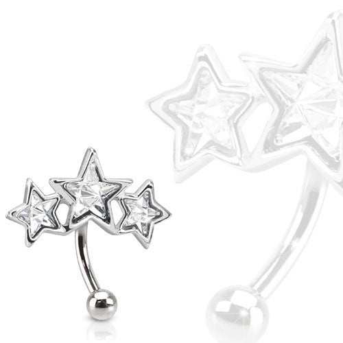 Triple Star 316L Surgical Steel Eyebrow Ring Paved Star Shaped CZs