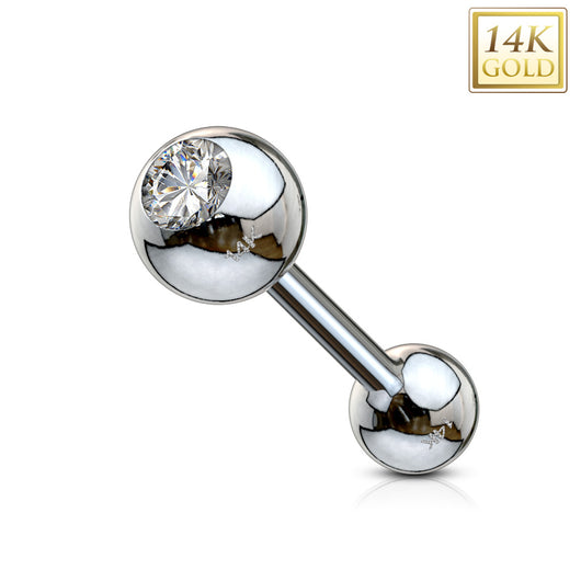 14Kt. Solid Gold Clear CZ Ball Top Barbells 16 Gauge