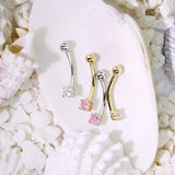 14Kt. Solid Gold Round CZ Curve Barbell Eyebrow Ring