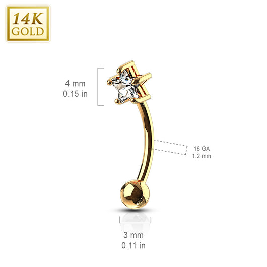 14Kt  Solid Gold Star Prong Set CZ Curve Barbell Eyebrow Ring