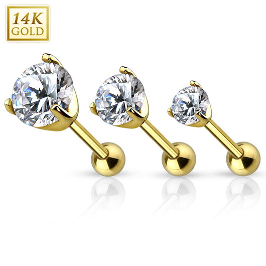 14Kt Yellow Solid Gold Cartilage Tragus Barbell with Prong Set CZ Top