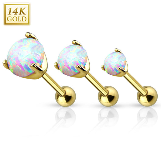 14Kt Yellow Solid Gold Cartilage Tragus Barbell with Opal Top