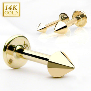 Spike Top 14K Solid Gold Labret Monroe Stud