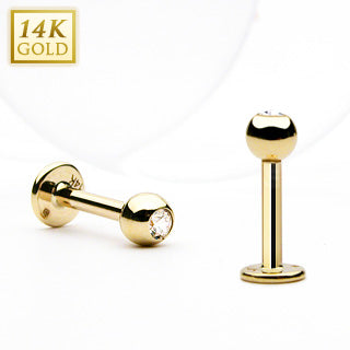Clear CZ Top 14K Solid Gold Labret Monroe Stud