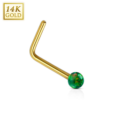 14K Solid Gold Opal Ball L Bend Nose Stud Ring