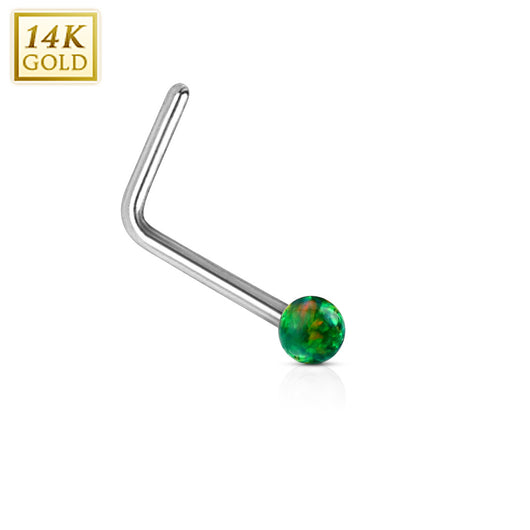 395936c26 14K Solid White Gold Opal Ball L Bend Nose Stud Ring ...