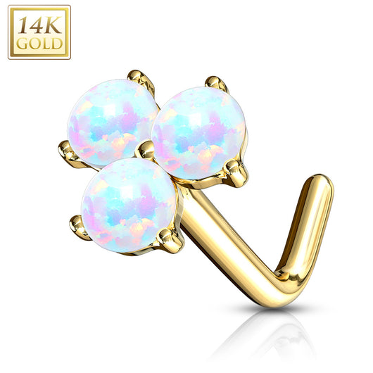 14Kt. Solid Gold 3 Prong Set Opal Stone L Bend Nose Stud Ring