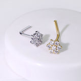 14Kt. Solid White Yellow Gold CZ Cluster Flower CZ Nose Stud Ring