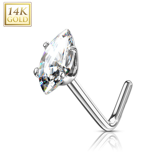 14Kt. Solid Gold Marquise CZ L Bend Nose Stud Ring