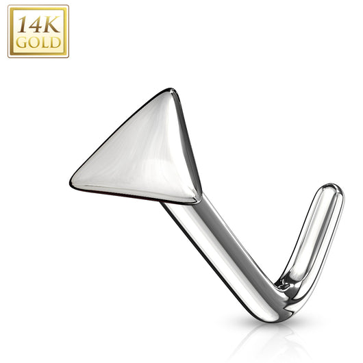 14Kt. Solid Gold Flat Triangle Top L Bend Nose Stud Ring