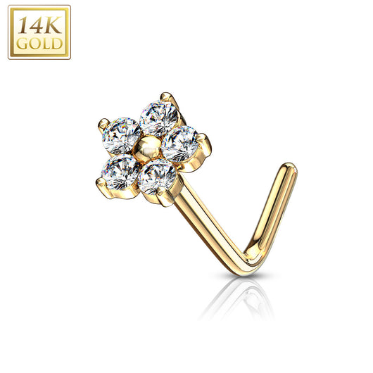 14Kt. Solid Yellow Gold CZ Flower Top L Bend Nose Stud Ring
