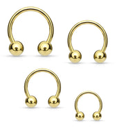 14K Gold Plated Ball Horseshoe Circular Barbells Tragus Helix Cartilage Daith 16GA