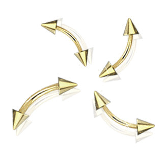 Basic Gold Plated Spike Curved Barbells Eyebrow Rings