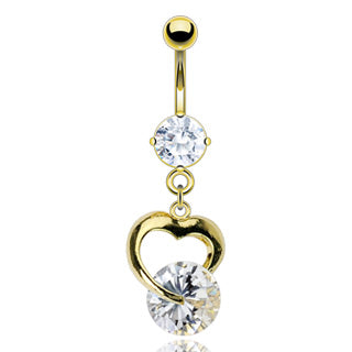 Heart And Gem Dangle 14kt Gold Plated Navel Belly Button Ring