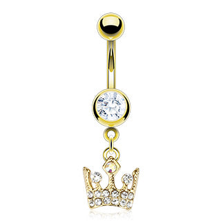 Royal Crown CZ Dangle 14kt Gold Plated Navel Belly Button Ring