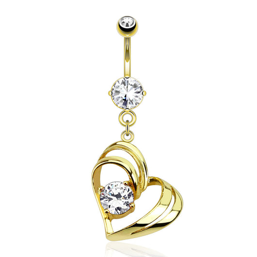 Hollow Heart CZ Dangle 14kt Gold Plated Navel belly Button Ring