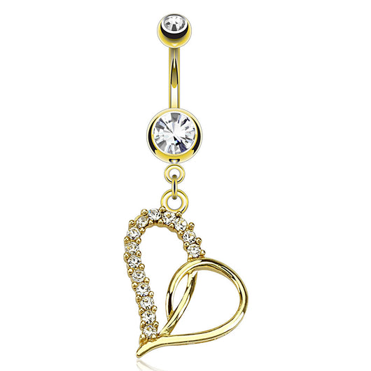 Loop Heart Dangle 14kt Gold Plated Navel Belly Button Ring