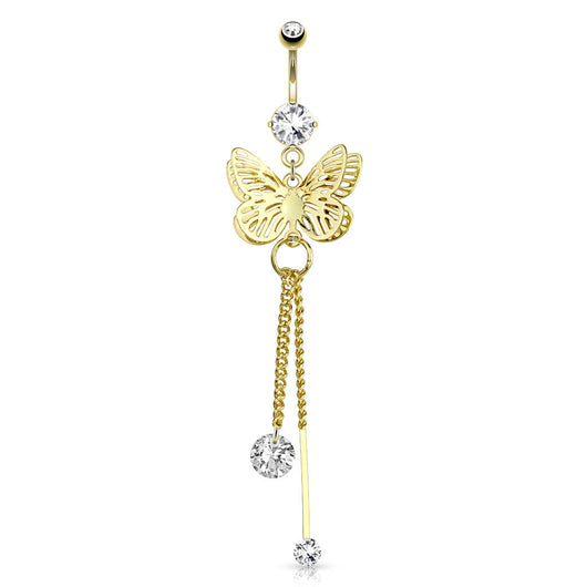 Butterfly CZ Dangle 14kt Gold Plated Navel Belly Button Ring