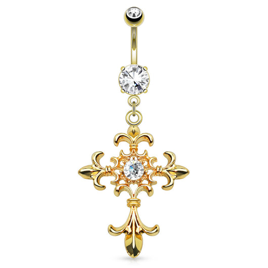 Fleur de Lis Cross Dangle 14kt Gold Plated Navel Belly Button Ring