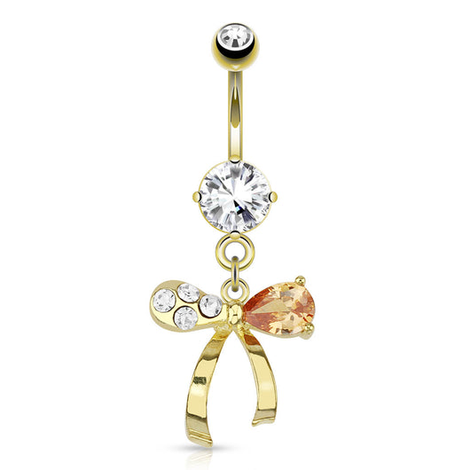 Ribbon Topaz Gems Dangle 14kt Gold Plated Navel Belly Button Ring