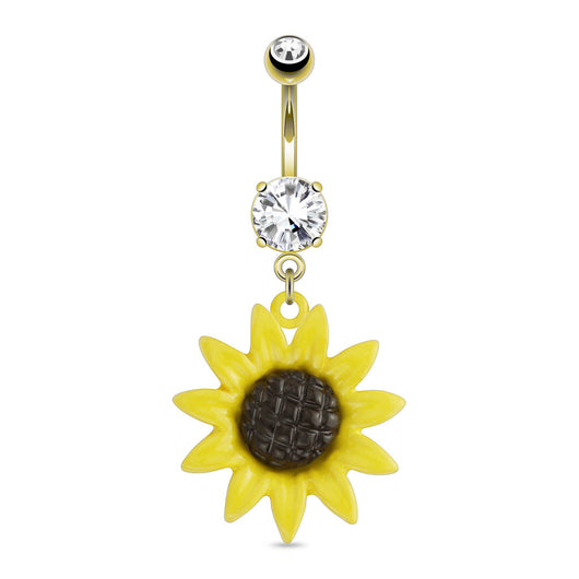 Sunflower Dangle with CZ 14kt Gold Plated Navel Belly Button Ring