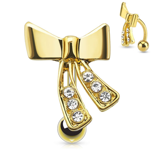 Ribbon with CZ Top Down 14kt Gold Plated Navel Belly Button Ring