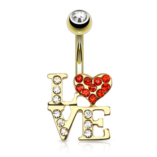 LOVE Logo CZ 14kt Gold Plated Navel Belly Button Ring