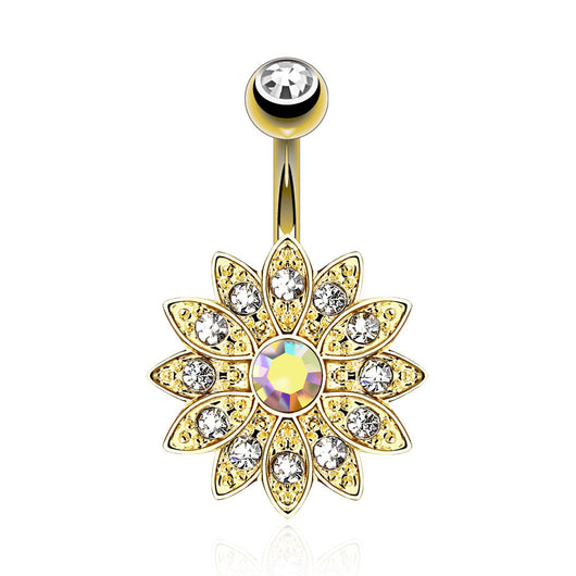 CZ Flower 14kt Gold Plated Navel Belly Button Ring