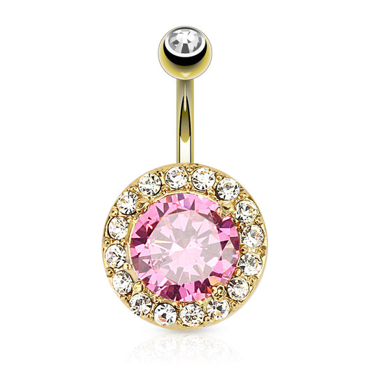 Pink CZ 14kt Gold Plated Surgical Steel Navel Belly Button Ring