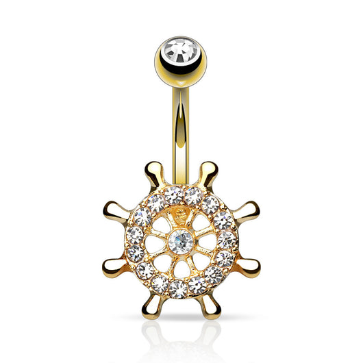 Yacht Wheel CZ 14kt Gold Plated Navel Belly Button Ring