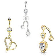 3 Pc Hot Seller 14K Gold And Surgical Steel CZ Heart Navel Belly Button Rings