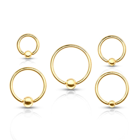 Yellow Gold Captive Bead Ring Tragus Helix Ear Cartilage Smiley Piercing