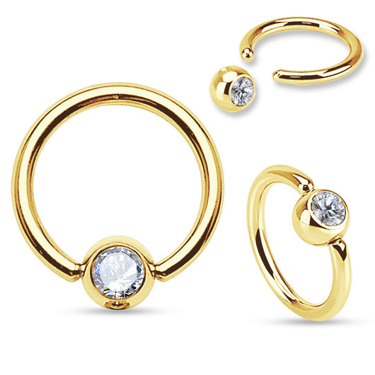 Gold IP Over 316L Surgical Steel CZ Set Ball Captive Bead Ring