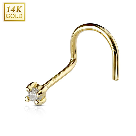 Prong Set Clear CZ 14K Solid Yellow Gold Nose Screw Ring 20G